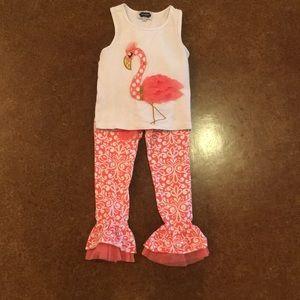 Mud Pie Girls Flamingo Set - 4T